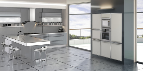Contemporary Kitchen Design (3d)