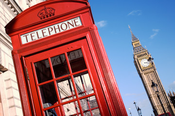 Wall Mural - Big Ben and Red Phone Booth
