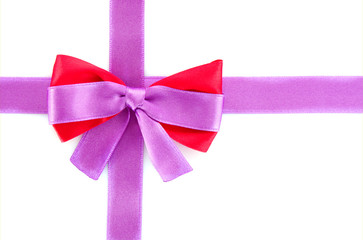 Gift red ribbon and bow isolated on white background