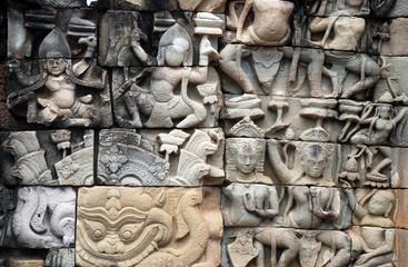 Angkor Wat decoration detail - Cambodia