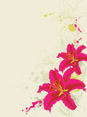 floral background with lily and ornament