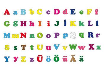 Farbige große und kleine Buchstaben
