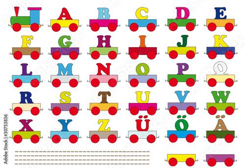 Farbige große und kleine Buchstaben\