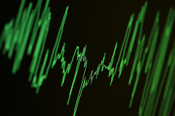 Audio, seismic or stock market green wave diagram