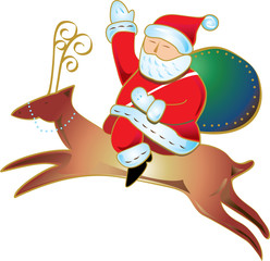 Santa and his sleigh flying above