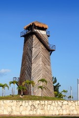 Cancun old airport control tower old wooden
