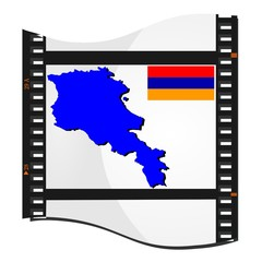 film shots with a national map of Armenia