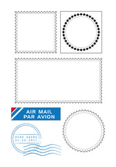 Postal stamps template vector