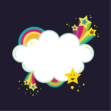 Starburst rainbow cloud banner