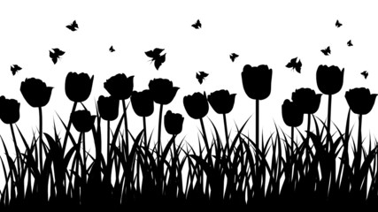 Aluminium Prints Floral black and white meadow background