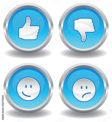 Button Set  Daumen hoch runter Smilie Smiley  blau