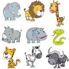 Photo sur Toile Zoo Set of cute cartoon animals