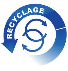 recyclage sur vignette fléchée bleue