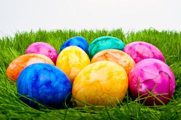 farbige Ostereier im Gras vor hellem Hintergrund
