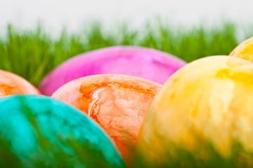farbige Ostereier im Gras