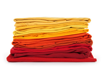 Red and yellow folded clothes