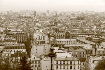 Panorama sur les toits de Paris, France