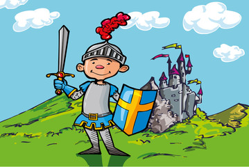 Spoed Foto op Canvas Ridders Cartoon boy knight in front of a castle