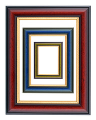 collection of various wooden frames on white background