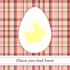 Pink plaid Easter card with yellow rabbit