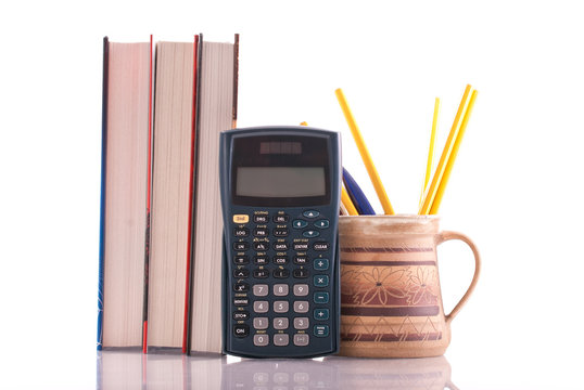 Scientific Math Calculator with Textbooks and Utensils