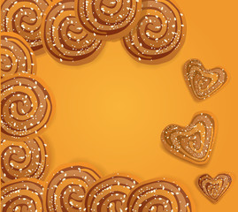 background  with cookies sprinkled