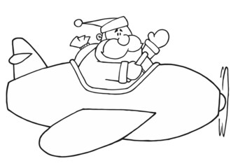 Black And White Coloring Page Outline Of Santa Flying A Plane