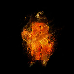 Photo sur Aluminium Flamme fire letter R