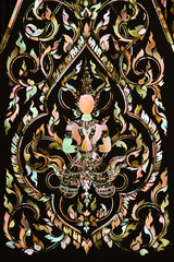 Thai art made from pearl on the  door of Rarchabophit temple Tha
