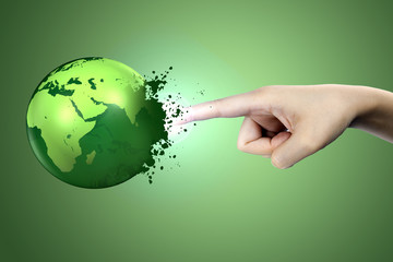 A finger blows up the earth