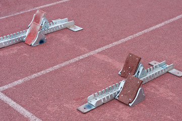 Two starting block in track