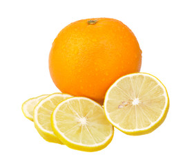 Slices of lemon and an orange