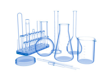 Lab Glassware (3D xray blue transparent on white)