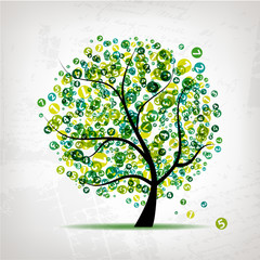 Art tree with figures green for your design