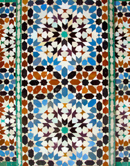 wall tiles at Ali Ben Youssef Madrassa in Marrakech