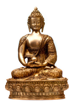 Buddha in meditation isolated over a white background