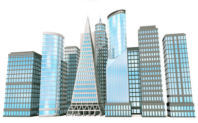 3D office buildings on white background