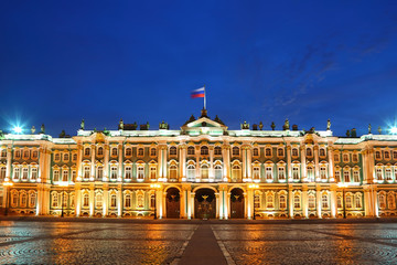 Palace Square, Hermitage museum in evening. Saint-Petersburg