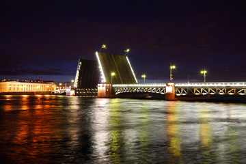 Palace Bridge drawbridge at night. Saint-Petersburg, Russia