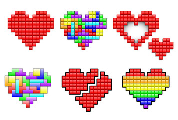 Wall Murals Pixel Hearts made out pixels and colorful puzzle pieces