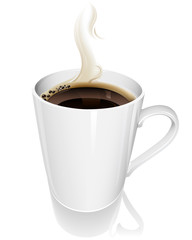 Vector illustration of a steaming hot cup of coffee