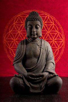 Buddha mit Blume des Lebens
