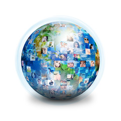 Social Friends Network Globe