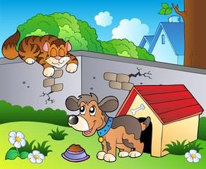 Tuinposter Honden Backyard with cartoon cat and dog