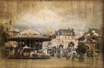 Rue grande à Fontainebleau, style vintage