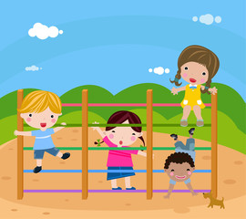 Group of children playing-vector