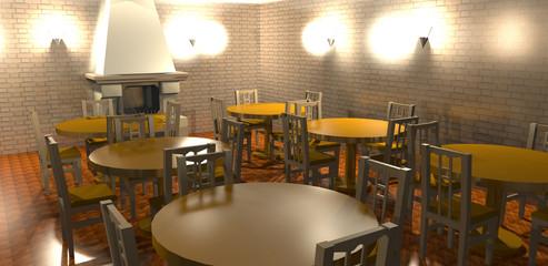 Interno di un ristorante rustico(3D rendering)