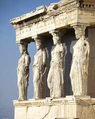 Caryatides, erechteion temple  Acropolis, Athens Greece