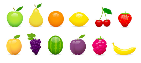 Fruits vectoriels sur fond blanc 1