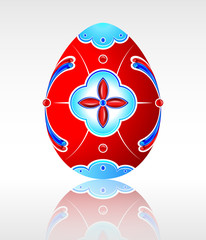 Beautiful red Easter egg with a pattern